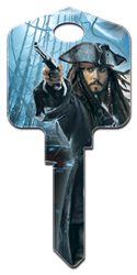 D27 - Captn Jack Sparrow Disney, Pirates of the Caribbean, Captn Jack Sparrow licensed painted house key blank