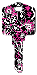 PG8 - Psychedelic Floral Pampered Girls, Psychedelic Floral, house key blank, licensed, painted