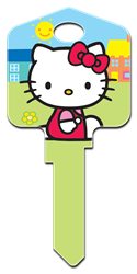 SR5 - Hello Kitty Green Hello Kitty, house key, licensed, painted, key blanks, green