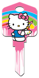 SR7 - Paint Hello Kitty, house key, licensed, painted, key blanks, paint