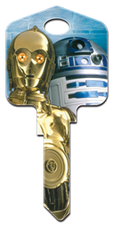 SW6 - C-3PO & R2-D2 Star Wars, C-3PO and R2-D2, house key blank, licensed, painted
