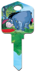 D76 - Eeyore Disney, Winnie the Pooh, Tigger, Eeyore, licensed, painted, house key blank