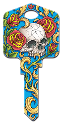 AI1 - Skull & Roses Achilles Ink, Skull and Roses, painted, licensed house key blanks