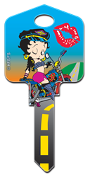 B1 - Biker Betty Betty Boop, Biker Betty, house key blank, painted, licensed,
