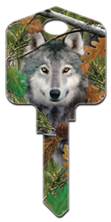 DPW2 - Wolf Deep Woods Wolf large headed licensed painted house key blank