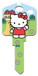SR6 - Hello Kittys House Hello Kitty, house key, licensed, painted, key blanks, green
