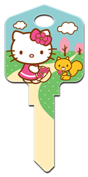 SR8 - Springtime Hello Kitty, house key, licensed, painted, key blanks, Springtime