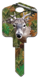 DPW3 - Buck Deep Woods, Buck, house key, forest, licensed, painted, key blank