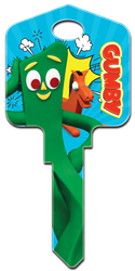 GY1 Gumby Gummy, Pokey, licensed, painted, house key, key blank (Canada)