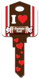 TR1 Tootsie Roll Tootsie Roll, licensed, house key blank, painted